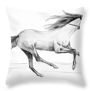 Throw Pillow featuring the drawing Runaway by Sophia Schmierer