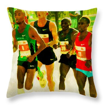 Runners Throw Pillow by Alice Gipson