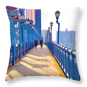 Running Across The Ben Throw Pillow by Bill Cannon