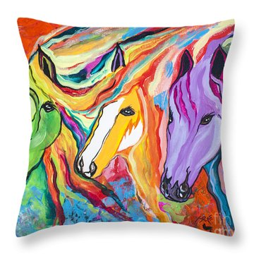 Running Against The Wind Throw Pillow by Janice Rae Pariza
