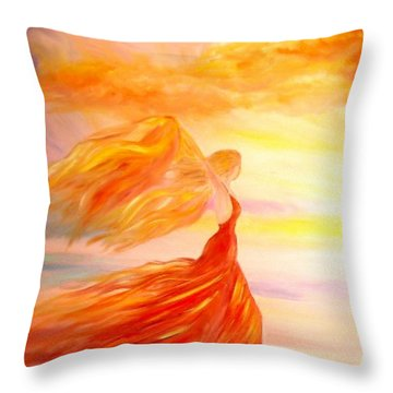 Throw Pillow featuring the painting Running Along The Beach by Lilia D