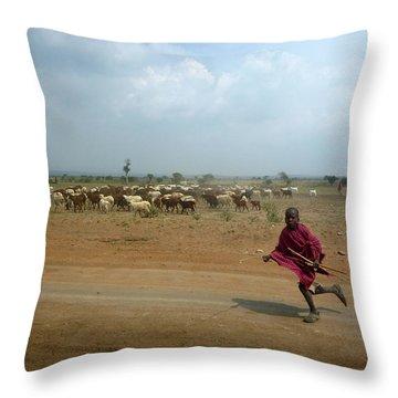 Running Boy Throw Pillow by Debi Demetrion
