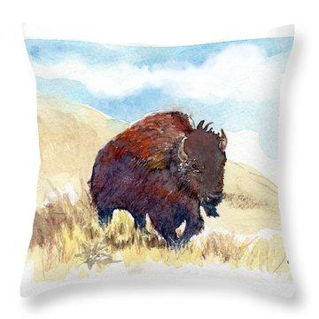 Running Buffalo Throw Pillow