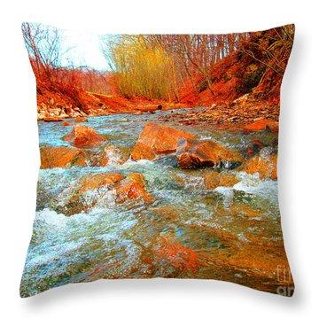 Running Creek 2 By Christopher Shellhammer Throw Pillow