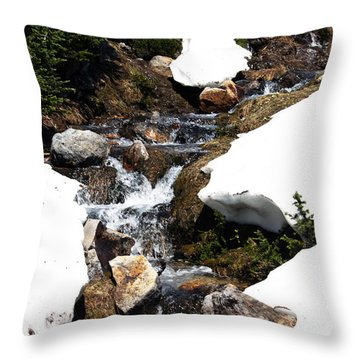 Running Down The Mountain Throw Pillow