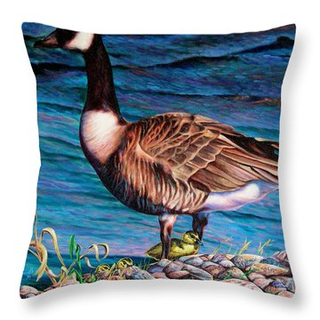 Throw Pillow featuring the painting Running For Cover by Craig T Burgwardt
