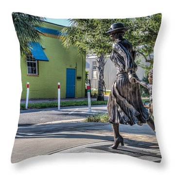 Running For The Train Throw Pillow by Jane Luxton