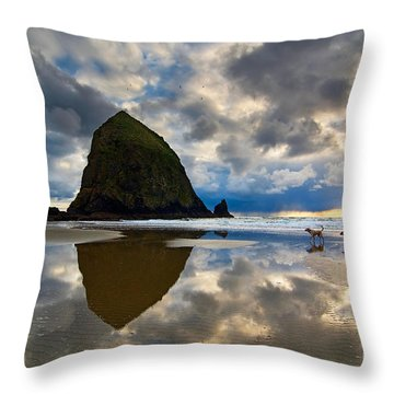 Running Free - Dogs Running In Beautiful Cannon Beach. Throw Pillow by Jamie Pham