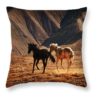 Throw Pillow featuring the photograph Running Free by Priscilla Burgers