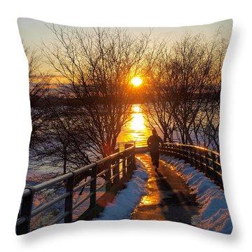 Running In Sunset Throw Pillow