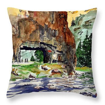 Running In The Poudre Canyon Throw Pillow