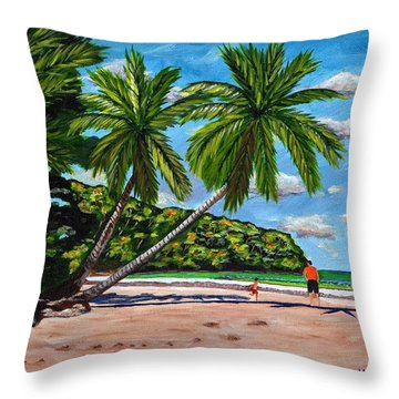 Throw Pillow featuring the painting Running by Laura Forde