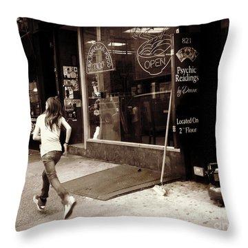 Running Throw Pillow by Miriam Danar
