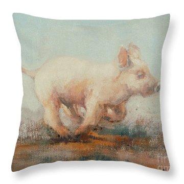 Running Piglet Throw Pillow by Ellie O Shea