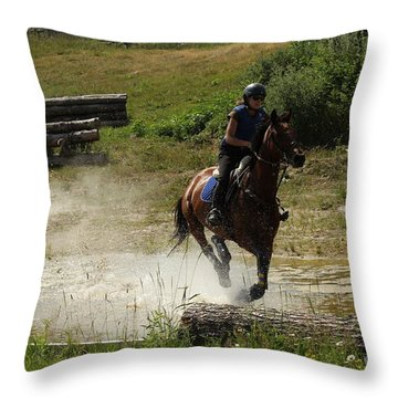 Running Thru Water  Throw Pillow