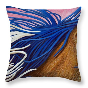 Running Thunder Throw Pillow by Brian  Commerford