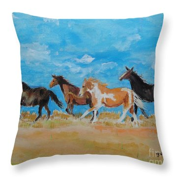 Throw Pillow featuring the painting Running Wild by Judy Kay