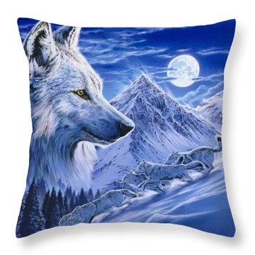 Running With The Pack Throw Pillow