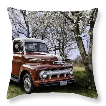 Rural 1952 Ford Pickup Throw Pillow by Betty Denise