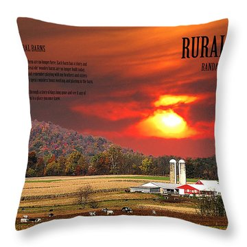 Throw Pillow featuring the photograph Rural Barns  My Book Cover by Randall Branham