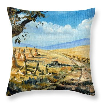Rural Farmland Americana Folk Art Autumn Harvest Ranch Throw Pillow