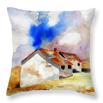 Rural Houses And Dramatic Sky Throw Pillow by Carlin Blahnik