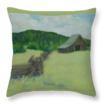 Rural Landscape Colorful Oil Painting Barn Fence Throw Pillow