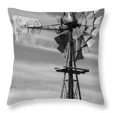 Rural Nebraska Windmill Throw Pillow