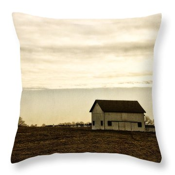 Rural Old Barn Behind Fence Throw Pillow