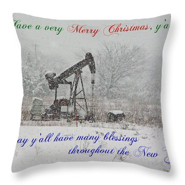 Rural Texas Christmas Throw Pillow by Robyn Stacey