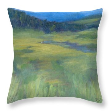 Rural Valley Landscape Colorful Original Painting Washington State Water Mountains K. Joann Russell Throw Pillow
