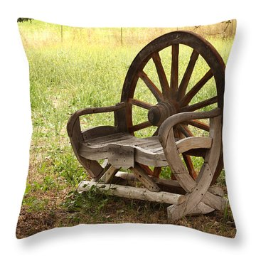 Rural Wagon Wheel Chair Throw Pillow by Art Block Collections
