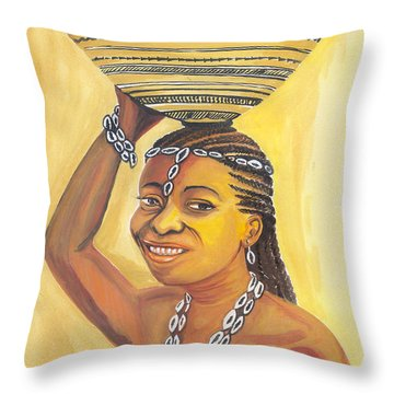 Rural Woman From Cameroon Throw Pillow by Emmanuel Baliyanga