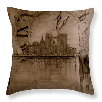Throw Pillow featuring the drawing Rush Hour by Geni Gorani