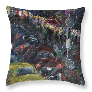 Rush Hour Rain  Throw Pillow by Leela Payne