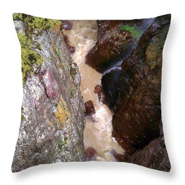 Throw Pillow featuring the photograph Rushing Crevasse by Fortunate Findings Shirley Dickerson