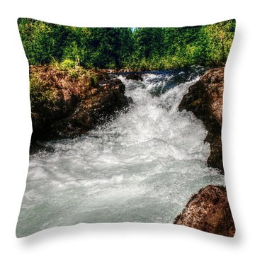 Rushing Rogue Gorge Throw Pillow by Melanie Lankford Photography