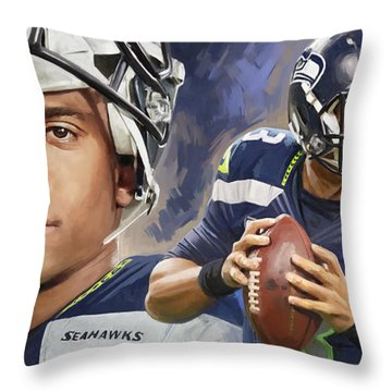 Throw Pillow featuring the painting Russell Wilson Artwork by Sheraz A