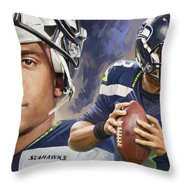 Russell Wilson Artwork Throw Pillow