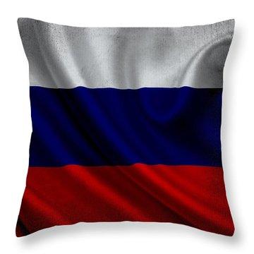 Russian Flag Waving On Canvas Throw Pillow by Eti Reid