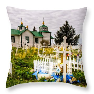 Russian Orthodox Church In Ninilchik Alaska Throw Pillow