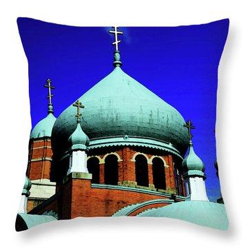 Russian Orthodox Church Throw Pillow by Karol Livote