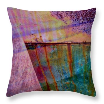 Rust And Paint Throw Pillow by Shirley Sirois