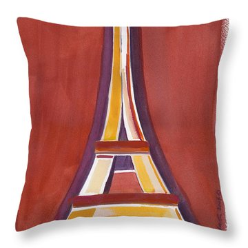 Rust Yellow Eiffel Tower Throw Pillow