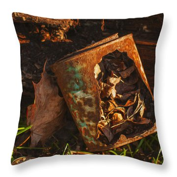 Rusted Can Of Leaves Throw Pillow