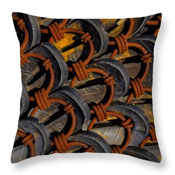 Rusted Circles Throw Pillow