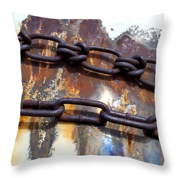 Rusted Links Throw Pillow by Fran Riley