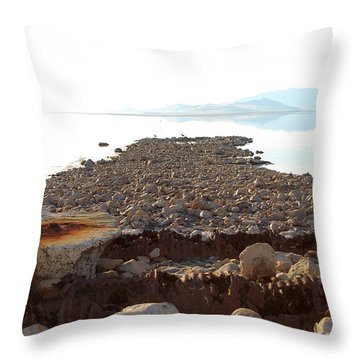 Rusted Pipe Thru Rock Path Throw Pillow by Holly Blunkall