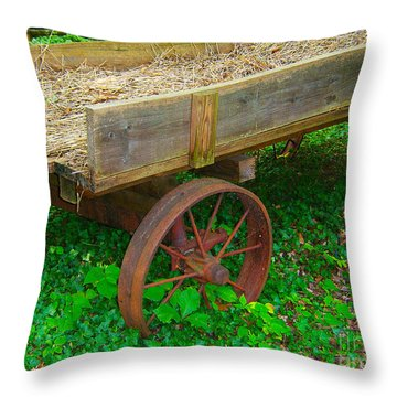 Rusted Wagon Wheel Throw Pillow