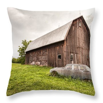 Throw Pillow featuring the photograph Rustic Art - Old Car And Barn by Gary Heller